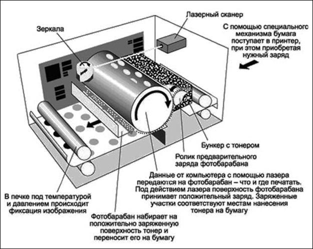 Устройство лазерного принтера.